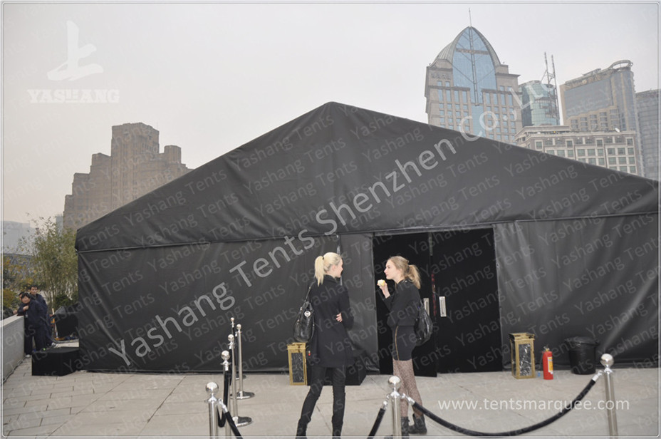 Durable 300 People Black Fabric Tent Structures , PVC Party Tent Marquee