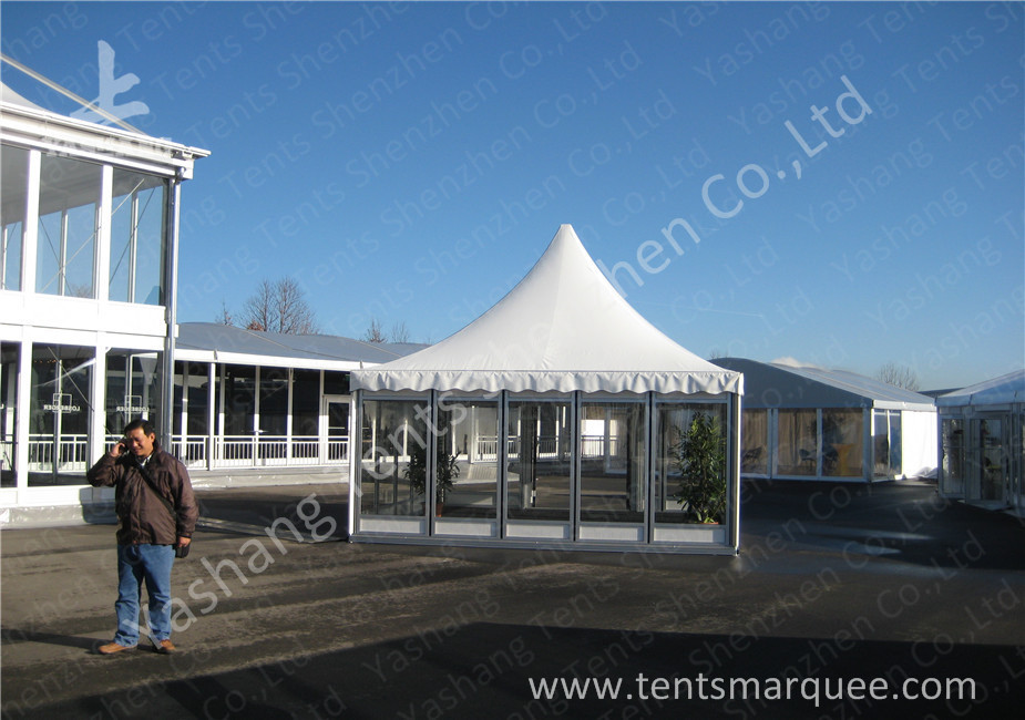 Transparent Glass Wall High Peak Tents , Aluminium Pagoda Tent Waterproof Cover