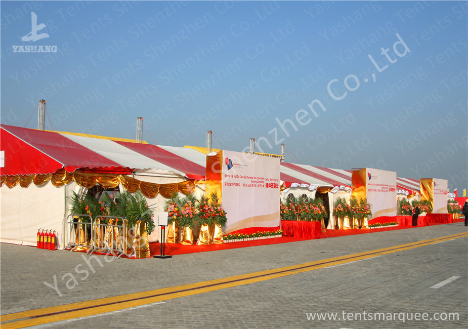 Colorful Red and White Fabric Tent Structures , PVC Party Tent Aluminum Alloy Frame