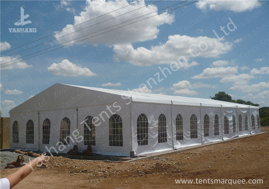 Transparent PVC Windows Hard Aluminium Frame Tents , metal frame tent 15m by 30m