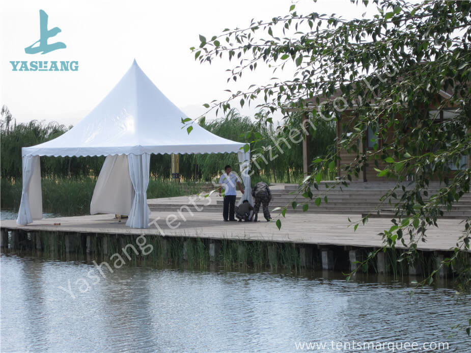 White PVC Fabric Cover Aluminum Frame  High Peak Canopy against Strong Sun