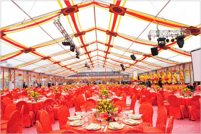 300 People Luxury Wedding Tents Rentals Aluminium Frame Marquee With Pink White Lining Decoration