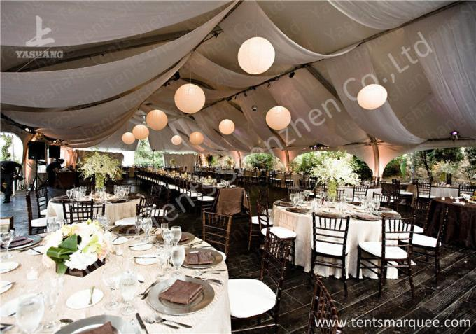 Outside Large Square Aluminum Profile Luxury Wedding Tents Decorated with Lining